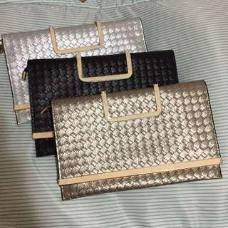金銀黑色信封包(三個價)可手挽