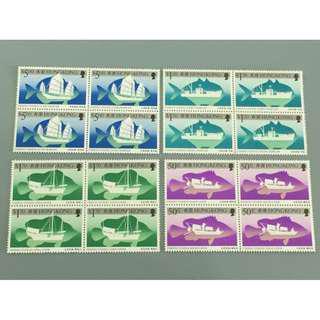 香港 1986年 香港漁船郵票四方連