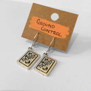 Hand-made tarot card earrings.