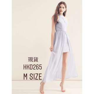 藍灰色 入膊露肩開叉長身裙