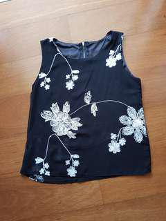 Preloved Black Flower Top