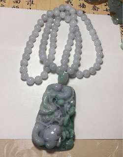 天然翡翠龍牌配翡翠珠鏈