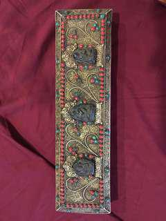 Antique Bhutan sutra prayer book with silver and precious stones