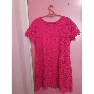 Fushcia Pink Lace Formal Dress