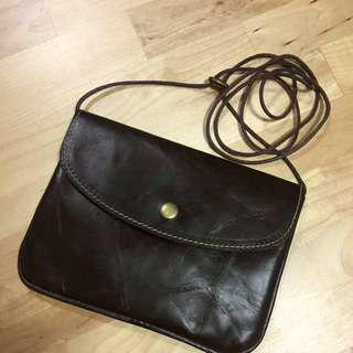 (Sale!) Slim Leather Messenger Bag