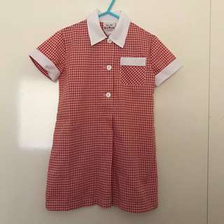 Size 4 OR 6 As new primary school gingham dress red white
