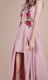 dusty pink eve embroidery dress ttr