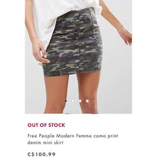Free People Camo Skirt