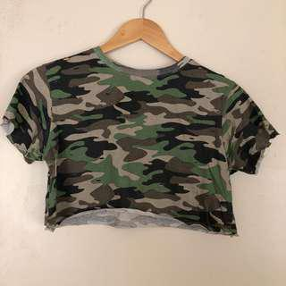 Distressed Camo Crop T Shirt