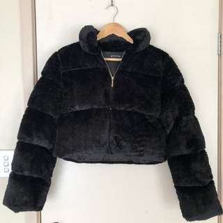 Cropped Fur Puffer Jacket