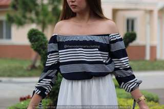 Blue Stripe Off Shoulder Top