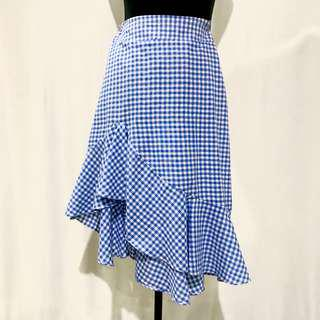 Blue & White Gingnam Ruffled Skirt