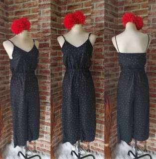 [2 for 500]Black Mini Polka Jumpsuit