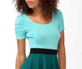 [2 for 350]Forever 21 BlueGreen Puffed Sleeve Top