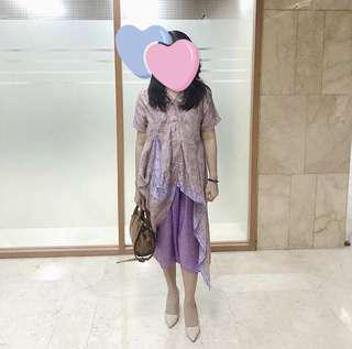 kebaya kurung purple