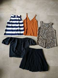 3 tops free 1 sabrina tops and 1 h&m skirt.