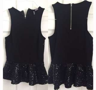 [2 for 350] H&M Black Sequined Peplum Top