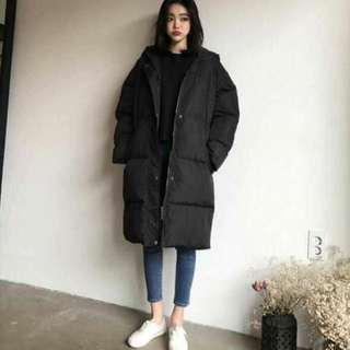 韓國連線購入 鋪棉長版外套 連帽