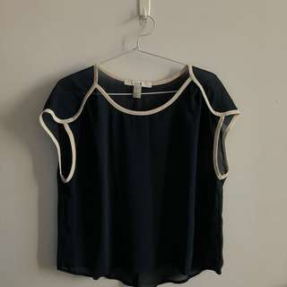 FOREVER 21 Navy Sheer Top with White Detailing