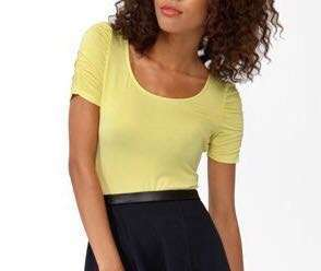 [2 for 350]Forever 21 Yellow Puffed Sleeve Top