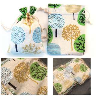 Cute tree design linen drawstring gift bags/ wedding favour bags pouches