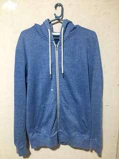 F21 Blue Zip Up Hoodie Jacket