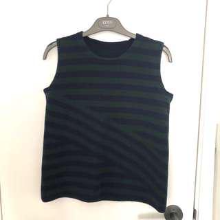 Giordano Ladies 藍綠 橫間 背心 vest