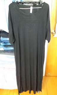 韓款滑身質地鬆身長裙