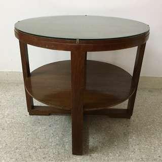 Vintage Art Deco Burmese Teak Wood Round Coffee Table
