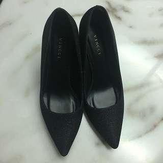 Vinci black glitter heels