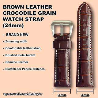 Brown Crocodile Grain Leather Watch Strap 24mm