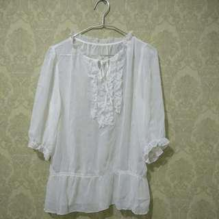 Woman top white - chiffon