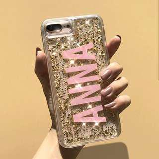 Gold Flakes Customised Name Initials iPhone Cover