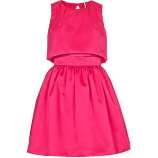 TOPSHOP Crop Overlay Duchess Satin Dress (Pink)