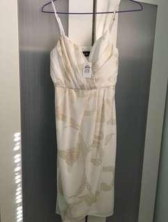 White + gold details dress AU8