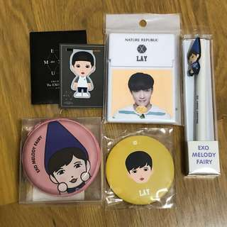 Lay Yixing EXO Melody Fairy Tin Pouch / Mirror / Pen / Nature Republic Mirror Case / Exordium Dot Magnetic Bookmark