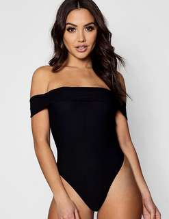 Black off the shoulder ribbed bodysuit