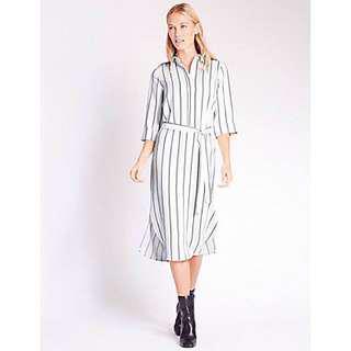 M&S Striped 3/4 Sleeve Shirt Dress