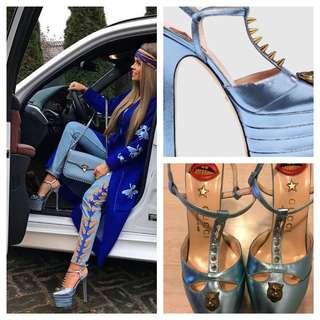 Blue Metallic Heels. 10