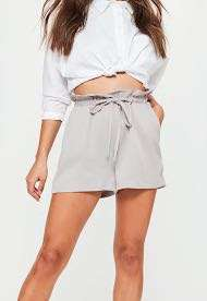 grey paper bag shorts