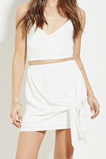 white tie waist mini skirt