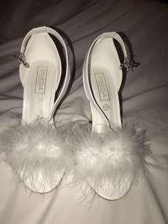 Truffle Collection white feather heels