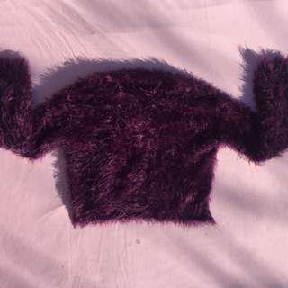 Purple fuzzy long sleeve crop top
