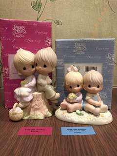 "MIB Precious Moments baby classics & classic Figurine ""Love One Another"" #E1376 & #272507"