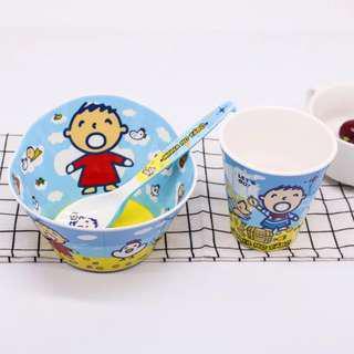 Cartoon Bowl, Spoon, Cup Set - Minna No Tabo