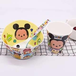 Cartoon Bowl, Spoon, Cup Set - Tsum Tsum