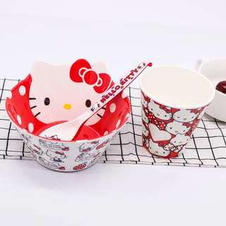 Cartoon Bowl, Spoon, Cup Set - Kitty Red