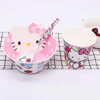Cartoon Bowl, Spoon, Cup Set - Kitty Pink