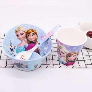 Cartoon Bowl, Spoon, Cup Set - Frozen