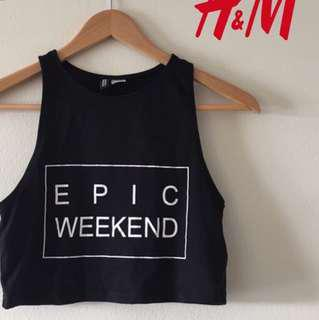 H&m epic weekend crop top / halter top